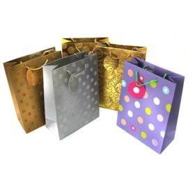 Пакет для подарков люкс с ручками в горошек