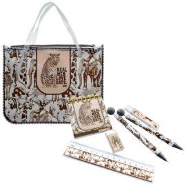 канцелярский набор в пенале с ручками коричневый