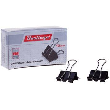Зажимы для бумаг Berlingo 25 мм 12 штук, черные