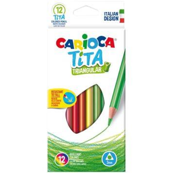 """Карандаши пластиковые Carioca """"Tita"""", 12 цветов, трехгранные"""