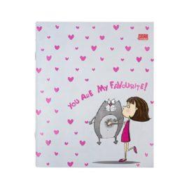 тетрадь А5 48 листов сердечки, девочка с котом