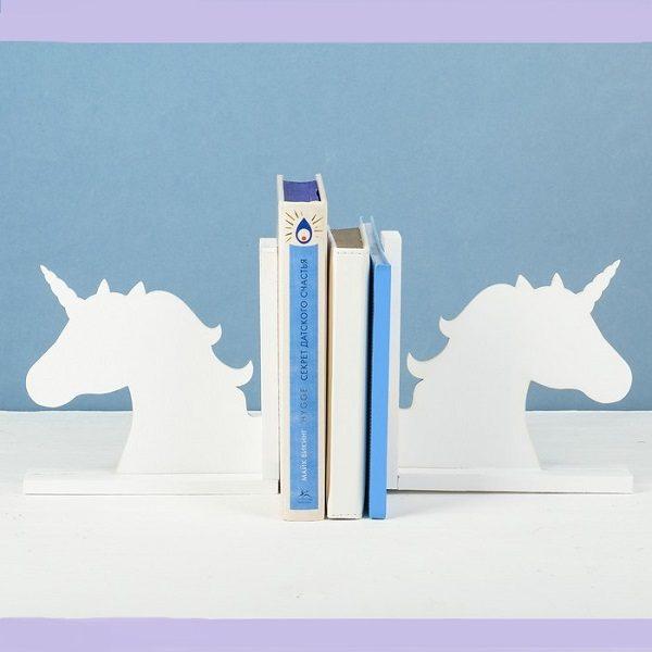 Подставка для книг с единорогами белая