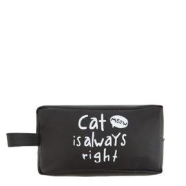 пенал черный на молнии с надписью Cat