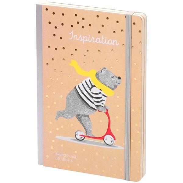 "Скетчбук - альбом для рисования 80л. А5 ""Trendy kraft"", 100г/м2, тв.обл, карман, доп.листы крафт"