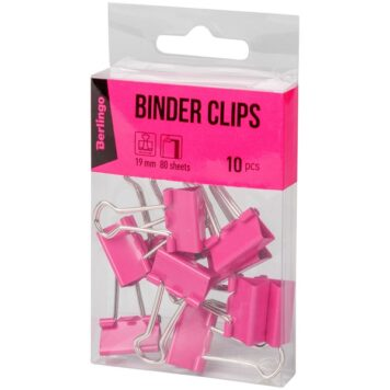 Зажимы для бумаг 19мм 10 шт, розовые