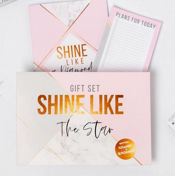 Подарочный конверт: блокнот, планинг Shine like