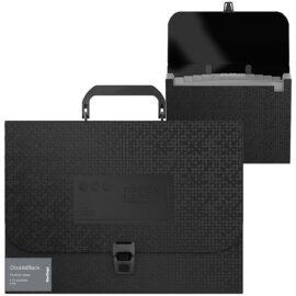 """Папка-портфель 12 отделений Berlingo """"DoubleBlack"""" A4, черная, c рисунком"""